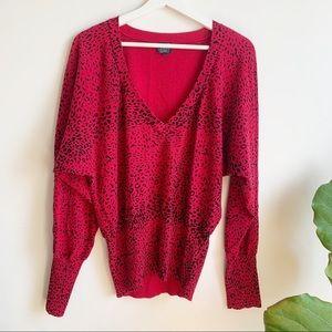 Twik V Neck Sweater Red Black Print 100% Cotton XL